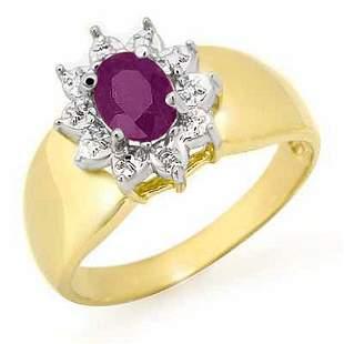 0.40 ctw Amethyst Ring 10k Yellow Gold - REF-11R6K