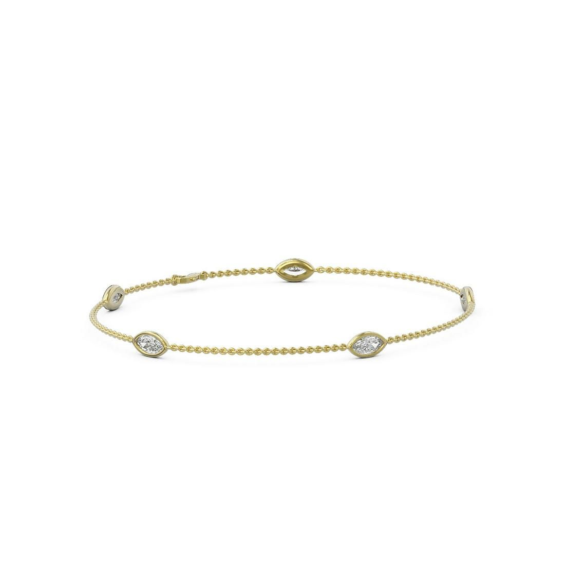 1.25 ctw Marquise Diamond Station Bracelet 18K Yellow