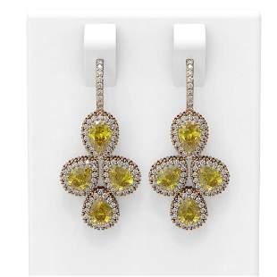 12.76 ctw Canary Citrine & Diamond Earrings 18K Rose