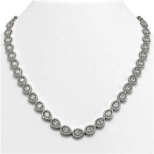28.74 ctw Pear Cut Diamond Micro Pave Necklace 18K
