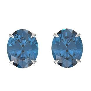 7 ctw London Blue Topaz Designer Stud Earrings 18k