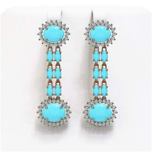7.39 ctw Turquoise & Diamond Earrings 14K Rose Gold -