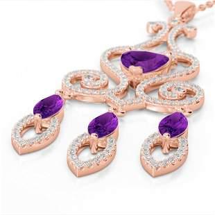 5.50 ctw Amethyst & Micro Pave Diamond Heart Necklace