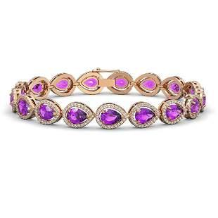 16.76 ctw Amethyst & Diamond Micro Pave Halo Bracelet