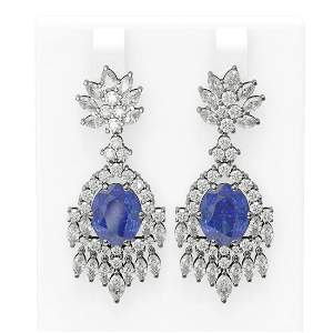 16.02 ctw Tanzanite & Diamond Earrings 18K White Gold -