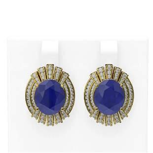 15.58 ctw Sapphire & Diamond Earrings 18K Yellow Gold -