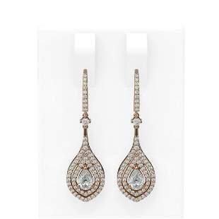 2.11 ctw Pear Diamond Earrings 18K Rose Gold -