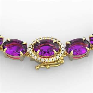 45.25 ctw Amethyst & VS/SI Diamond Micro Pave Necklace