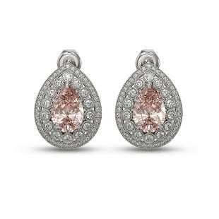 7.94 ctw Morganite & Diamond Victorian Earrings 14K