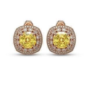 13.99 ctw Canary Citrine & Diamond Victorian Earrings