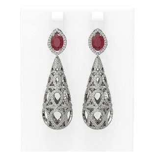 7.82 ctw Ruby & Diamond Earrings 18K White Gold -