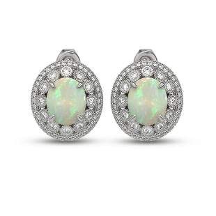 9.85 ctw Certified Opal & Diamond Victorian Earrings
