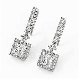 3 ctw Princess Cut Diamond Designer Earrings 18K White