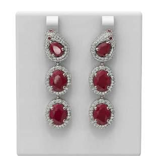 21.3 ctw Ruby & Diamond Earrings 18K White Gold -