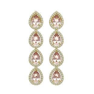 7.8 ctw Morganite & Diamond Micro Pave Halo Earrings