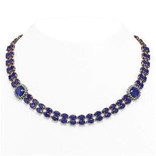 43.97 ctw Sapphire & Diamond Necklace 14K Rose Gold -