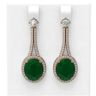 15.53 ctw Emerald & Diamond Earrings 18K Rose Gold -