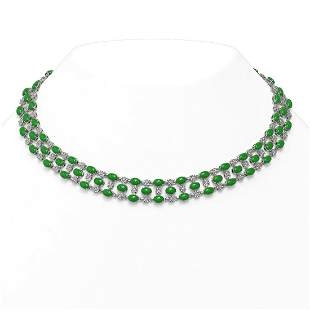 26.75 ctw Jade & Diamond Necklace 10K White Gold -