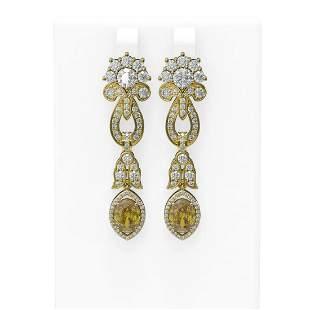 7.88 ctw Canary Citrine & Diamond Earrings 18K Yellow