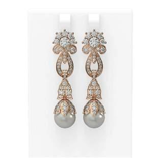 6.87 ctw Diamond & Pearl Earrings 18K Rose Gold -