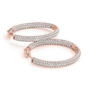 2.5 ctw Diamond VS/SI 25 MM Hoop Earrings Pave 14k Rose
