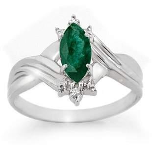 0.57 ctw Emerald & Diamond Ring 18k White Gold -