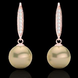 0.18 ctw Micro Pave VS/SI Diamond with Pearl Earrings