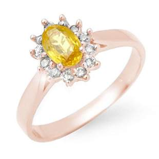 0.83 ctw Yellow Sapphire & Diamond Ring 18k Rose Gold -