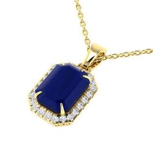 5.50 ctw Sapphire & Micro Pave VS/SI Diamond Necklace