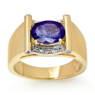 2.18 ctw Tanzanite & Diamond Men's Ring 10k Yellow Gold