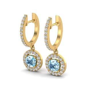 1.75 ctw Sky Topaz & Micro Pave VS/SI Diamond Earrings