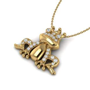 0.25 ctw Micro Pave VS/SI Diamond Frog Necklace 10k