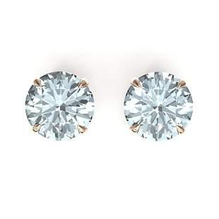 4 ctw Sky Blue Topaz Designer Stud Earrings 14k Rose