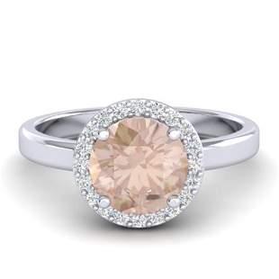1.50 ctw Morganite & Halo VS/SI Diamond Micro Ring 18k