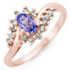 0.55 ctw Tanzanite & Diamond Ring 18k Rose Gold -