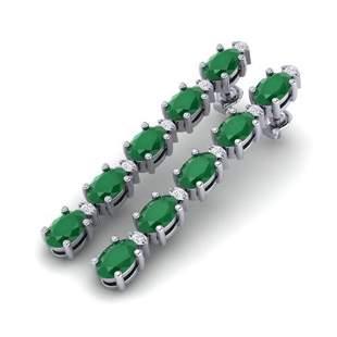 7 ctw Emerald & VS/SI Diamond Certified Tennis Earrings