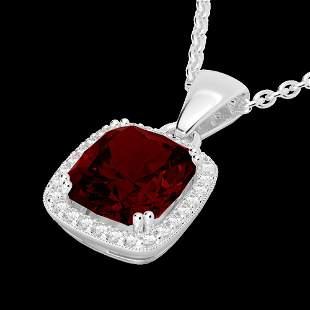 3 ctw Garnet & Micro VS/SI Diamond Pave Halo Necklace