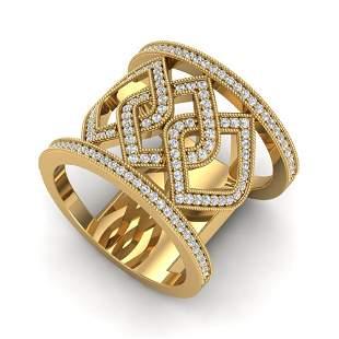 0.90 ctw Ring Micro Pave VS/SI Diamond Designer 14k