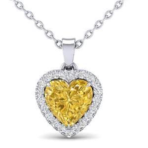 1 ctw Citrine & Micro Pave VS/SI Diamond Heart Necklace