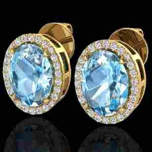5.50 ctw Sky Blue Topaz & Micro VS/SI Diamond Earrings