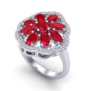 4 ctw Ruby & VS/SI Diamond Certified Cluster Designer