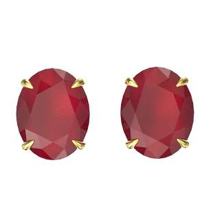 7 ctw Ruby Designer Solitaire Stud Earrings 18k Yellow
