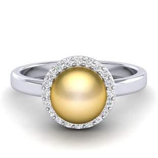 0.25 ctw Micro Pave VS/SI Diamond & Golden Pearl Ring