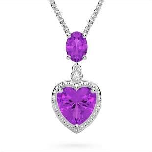 4 ctw Amethyst & VS/SI Diamond Designer Heart Necklace