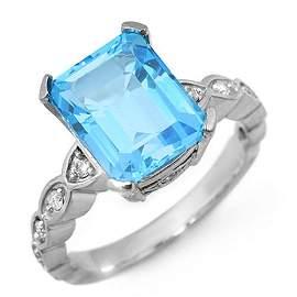 5.25 ctw Blue Topaz & Diamond Ring 10k White Gold -