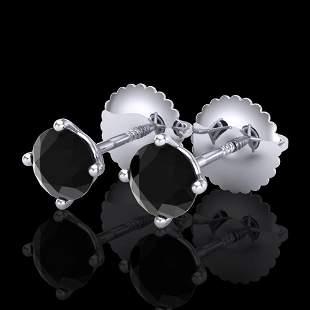 0.65 ctw Fancy Black Diamond Art Deco Stud Earrings 18k