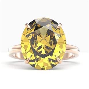 9 ctw Citrine Designer Solitaire Engagment Ring 14k