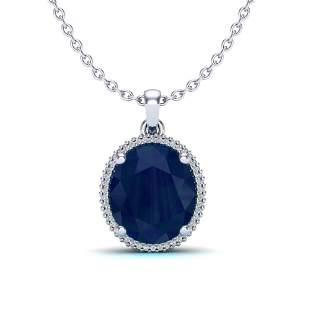 12 ctw Sapphire & Micro Pave VS/SI Diamond Necklace 18k