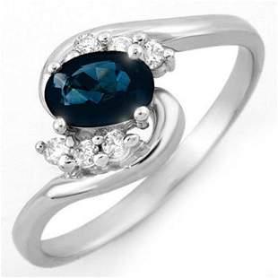 0.70 ctw Blue Sapphire & Diamond Ring 10k White Gold -