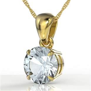2 ctw Aquamarine Designer Necklace 18k Yellow Gold -